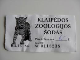 Entry Ticket To Klaipeda Z00 Animal Fauna Leopard Cheetah Panther Cat Family - Tickets - Vouchers