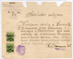"""1932 - TIMBRES FISCAUX Sur LETTRE De """"TURGIELE (LITUANIE) - Lithuania"""