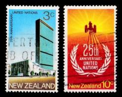 New Zealand 1970 United Nations Anniversary Set Of 2 Used - - New Zealand