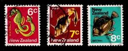 New Zealand 1970 Sealife 6c, 7c, 8c Used - - New Zealand