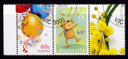 Australia 2010 For Special Occasions 60c Strip Of 3 CTO - Balloons, Teddy, Wattle - Used Stamps