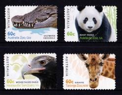 Australia 2012 Zoos Four Self-adhesives Used - Crocodile, Panda, Eagle, Giraffe - 2010-... Elizabeth II