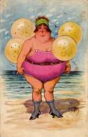 BAIGNEUSE / GROSSE FEMME Sur PLAGE / FAT BATHING WOMAN - ILLUSTRATION : ARTHUR THIELE - L & P ~ 1930 (r-471) - Thiele, Arthur