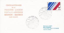 CINQUANTENAIRE DE LA 1ERE LIAISON POSTALE AERIENNE REUNION  MAURICE RAID SAMAT  STE MARIE    SCANS RECTO VERSO - Poste Aérienne