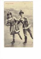 Illustrateur BERGERET - Sur La Glace - Femme Homme Patineurs Patin à Glace Costume Robe Thème Mode - 1905 - Bergeret