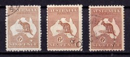 Australia 1923 Kangaroo 6d Chestnut 3rd Watermark Shade Collection Used - Oblitérés