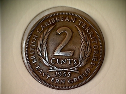 Caraibes De L´Est  - Territoire Britanique 2 Cents 1955 - Caraïbes Orientales (Etats Des)