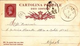 """Postkarte 1878 Filagrano C 4 Von """"BOVINO"""" Nach Napoli (w164) - 1861-78 Vittorio Emanuele II"""