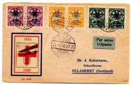 Lettre Par Avion De Riga Pour Ollaberry (02.08.1927)_croix Rouge_Invalides De Guerre_Beruluft - Lituanie