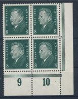 Deutsches Reich Michel No. 412  ** postfrisch Viererblock Eckrand