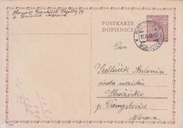 Böhmen Und Mähren Deutsche Reich Ganzsache Stationary Entier Bucovice 1942 - Bohême & Moravie