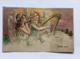 AK   WEIHNACHTEN   CHRISTMAS      ENGEL  ANGEL   1907.   HARP   HARFA   EMBOSSED - Weihnachten
