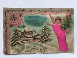 AK   WEIHNACHTEN   CHRISTMAS      ENGEL  ANGEL   1903.  MADE OF SILK   EMBOSSED     LITHO - Weihnachten