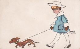 Germany 1933 Children Artist Marie Hiuler, Walking A Dog, Col. - Postcards