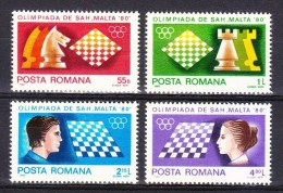 Romania 1980 Chess Games Olympiad Malta Olympic Scacchi Echecs Schach Stamps MNH Sc 2973-2976 Michel 3747-3750 - Chess