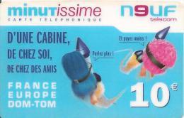 CARTE PREPAYEE-MINUTISSIME-NEUF-10€-FRANCE -EUROPE-FUSEE-31/12/2005-V° JEU-RETENTEZ  Sans Valeur- En Haut A DROITE -TBE- - Autres Prépayées