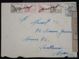 ESPAGNE - Enveloppe De Borost Pour Le Maroc En 1943 - Annulation Timbres à La Main Et Censure  - à Voir - Lot P9344 - Marcas De Censura Nacional