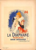 J-CHERET - Lithographie - 39,5x28 (imprimerie Chaix) Fin 19ème -La Diaphane -poudre De Riz Sarah Bernhardt - Lithographies
