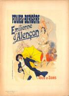 J-CHERET - Lithographie - 39,5x28 (imprimerie Chaix) Fin 19ème - Folies Bergere -Emilienne D'Alencon - Litografia