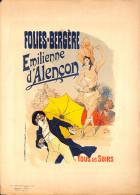 J-CHERET - Lithographie - 39,5x28 (imprimerie Chaix) Fin 19ème  -Folies Bergère -Emilienne D'ALENCON - Lithographies