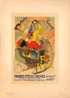 J-CHERET - Lithographie - 39,5x28 (imprimerie Chaix) Fin 19ème  - GRANDES FETES DES TUILERIES - Lithografieën