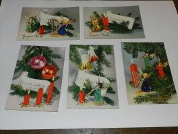 LOT 5 CARTES VINTAGE JOYEUX NOEL  - ANGES / BOUGIES / HARPE / PARTITION MUSIQUE  - EDITION ISV - Navidad