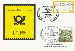 27260- NEW POSTAL CODES SPECIAL POSTCARD, STUTTGART GARDEN EXHIBITION SPECIAL POSTMARK AND STAMP, 1993, GERMANY - Storia Postale