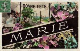 C.P.A De 1909 -  BONNE FÊTE MARIE - PC 4255 - Roses, Muguet, Lilas, Pâquerettes, Portrait Et Village En Fonds - Fêtes - Voeux