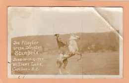 Rodeo, Joe Fliegier, 1923, Stampede  WILLIAMS LAKE, BC, CARIBOO, BRITISH COLUMBIA, Postcard, CANADA, Post Card, Carte - Other