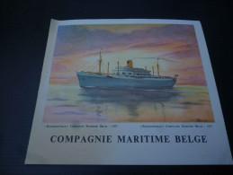 CB7 1957 Menu Du Paquebot BAUDOUINVILLE De La Compagnie Maritime Belge - Voyage 1963 - Boats