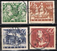 Sellos SUECIA Sverige 1938, Fundacion Colonia Nueva Suecia,  Num  249-253 º - Suède