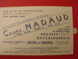 Buvard Cours Nadaud. Baccalaureats, Brevets. Paris. Vers 1950 - Carte Assorbenti