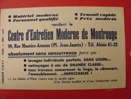 Buvard Centre D'entretien Moderne De Montrouge. Lavage Nettoyage. Paris. Vers 1950 - Carte Assorbenti