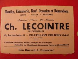 Buvard meubles �b�nisterie ch. lecointre. chatillon coligny (loiret). vers 1950