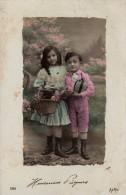 C.P.A De 1912 -  Heureuses Pâques -Aéro 586 - Enfants Apportant Des Oeufs - Pâques