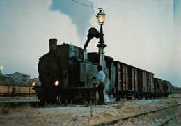 "03989 ""RIBERA (AG) LINEA CASTELVETRANO - RIBERA"" FERROVIA, TRENO - RAILWAY,  TRAIN. CART. ILL.  ORIG.  NON SPEDITA. - Treni"