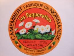 A-14286c - étiquette De Fromage Camembert LES PAQUERETTES Saffrey Frères à SAINT LOUP DE FRIBOIS - Calvados 14BF - Cheese
