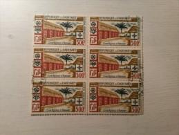 BLOC 6 Timbres Oblitérés - DAHOMEY - Cour Royale D'Abomey. - Benin - Dahomey (1960-...)