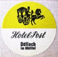 HOTEL MISC POST DOLLACH MULLTAL DEUTSCHLAND GERMANY MINI TAG DECAL STICKER LUGGAGE LABEL ETIQUETTE AUFKLEBER - Hotel Labels
