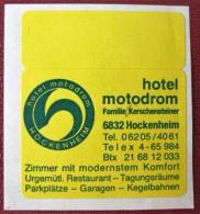 HOTEL MISC MOTODROM HOCKENHELM GSTHOF BAD KUR DEUTSCHLAND GERMANY MINI DECAL STICKER LUGGAGE LABEL ETIQUETTE AUFKLEBER - Hotel Labels