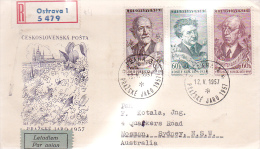 Czechoslovakia 1957 Registered Cover Sent To Australia - Czechoslovakia