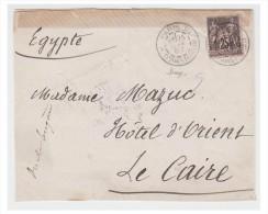 FRANCE/ EGYPTE -- LETTRE DE PARIS POUR LE CAIRE 1887 -- VOIE DE L'ITALIE -- CACHETS AMBULANTS - Marcophilie (Lettres)