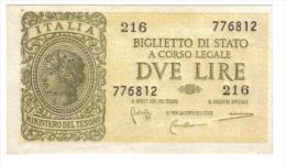 2 Lire Italia Laureata Luogotenenza Fds  LOTTO 1307 - [ 1] …-1946: Königreich