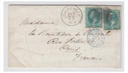ETATS-UNIS /FRANCE-- POSTE MARITIME -- LETTRE DE RHINEBECK POUR PARIS 1879 --- - Poststempel