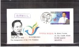FDC Corée Du Sud Vers Belgique  - 2008 - 17th President (à Voir Recto-verso) - Corée Du Sud
