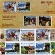 "SERBIA / SRBIJA -  EUROPA 2012 -TEMA ANUAL "" VISITE SRBIJA "".- CARNET De DOS SERIES En GUTTER PAIR.  - TIPO B - 2012"