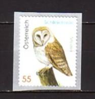 2009 autriche neuf ** n� 2628 faune : oiseau : chouette effraie des clocher : timbre autoadh�sif