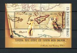 2002 chypre neuf ** bloc n� 22 arch�ologie : buste antique : carte