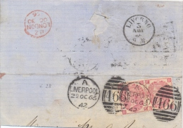 Great Britain 1866 Piece Of Envelope To Italy With Stamps 2 X 3 Pence And Cancel Of Liverpool 466 - 1840-1901 (Regina Victoria)