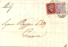 Great Britain 1868 Envelope To Genoa (Italy) With Stamps 1 Penny + 6 Pence (hyphen After SIX) - 1840-1901 (Regina Victoria)